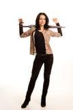 Mulher à moda com um guarda-chuva imagens de stock royalty free