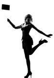 Mulher à moda da silhueta 'sexy' com bolsa Imagem de Stock