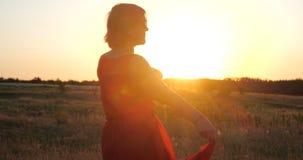 Mulher à moda de sorriso em uma dança vermelha do vestido em um grande campo no por do sol vídeos de arquivo