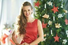 Mulher à moda de sorriso no vestido vermelho perto da árvore de Natal foto de stock royalty free