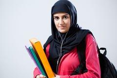 Mulher árabe antes das classes fotografia de stock