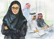 Mulher árabe da aquarela que trabalha no escritório ilustração stock