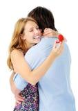 A mulher abraça o homem feliz Fotografia de Stock Royalty Free