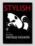 Mulher abstrata com com estilo de Art Deco das flores Projeto da capa de revista da forma Foto de Stock