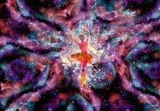 Mulher abstrata que faz uma bailarina em uma galáxia colorida original da nebulosa ilustração do vetor