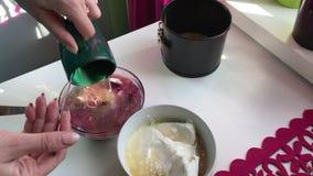 A mulher adiciona a gelatina dissolvida ao requeijão Bolo de queijo do mirtilo Os ingredientes para cozinhar são ficados situados filme