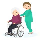 Mulher adulta deficiente Mulher superior deficiente em uma cadeira de rodas ilustração stock