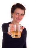 Mulher adulta nova com cabelo curto, calças de ganga no fundo branco em poses diferentes, e várias expressões faciais n Imagem de Stock