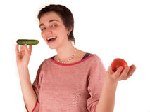 Mulher adulta nova com cabelo curto uma parte superior vermelha, calças de ganga no fundo branco em poses diferentes, e várias ex Fotografia de Stock Royalty Free