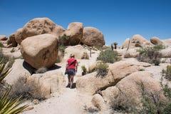 A mulher adulta nova começa uma caminhada nas grandes rochas de Joshua Tree National Park imagens de stock