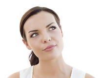 Mulher adulta nova pensativa que olha acima no branco fotos de stock royalty free