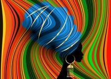 Mulher africana bonita do retrato no envoltório vermelho africano, impressão tradicional da cabeça de Kente do turbante tradicion Imagem de Stock Royalty Free