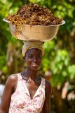 A mulher africana leva coisas em sua cabeça Imagem de Stock