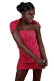 Mulher africana na cor-de-rosa foto de stock