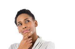 Mulher africana nova pensativa fotografia de stock royalty free