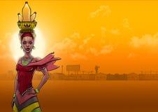 Mulher africana que busca a água ilustração stock