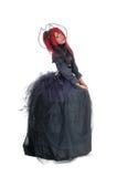 Mulher africana que está no vestido vitoriano fotografia de stock
