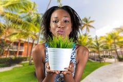 Mulher africana que guarda a planta Imagem de Stock