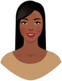 Mulher afro-americano bonita com as marcas tiradas em sua cara FO Imagem de Stock