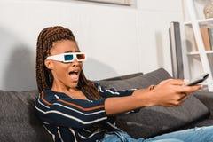 mulher afro-americano emocional chocada Fotografia de Stock Royalty Free
