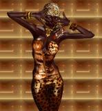 Mulher afro-americano na forma da cópia do leopardo com cosméticos bonitos ilustração stock