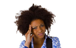 A mulher afro-americano sente doente Fotos de Stock Royalty Free