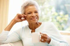 Mulher afro-americano superior em casa imagens de stock