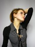 Mulher agradável com um grânulo Fotos de Stock