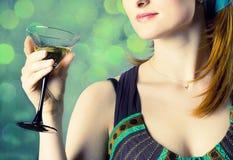 Mulher agradável com vidro fotografia de stock royalty free