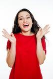Mulher agradavelmente surpreendida Foto de Stock Royalty Free