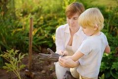 A mulher ajuda o rapaz pequeno posto sobre luvas do jardim para escavar o trabalho com pá da cama de flor no quintal Ajudante peq fotos de stock