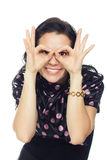 A mulher alegre bonita retrata vidros Fotografia de Stock