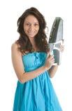Mulher alegre com o aspirador de p30 handheld Imagens de Stock Royalty Free