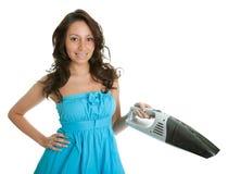 Mulher alegre com o aspirador de p30 handheld fotografia de stock