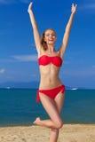 Mulher alegre com os braços aumentados Imagem de Stock