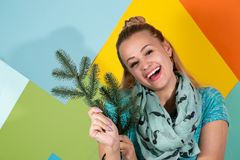 Mulher alegre com ramos do abeto fotos de stock