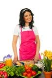 Mulher alegre do cozinheiro chefe Imagens de Stock Royalty Free