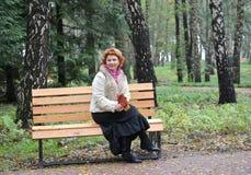 A mulher alegre dos anos médios senta-se em um banco com as folhas de bordo do outono nas mãos Imagem de Stock Royalty Free