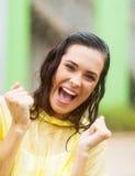 Mulher alegre na chuva Imagens de Stock