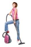 Mulher alegre nova com aspirador de p30 Foto de Stock Royalty Free