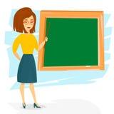 Mulher alegre nova do professor Ensino do professor com um ponteiro Ilustração do vetor ilustração stock