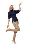 A mulher alta no pulôver azul isolado no branco Fotos de Stock Royalty Free