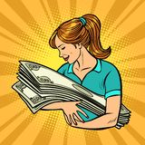 A mulher ama o dinheiro Vitória da loteria do banco ilustração royalty free