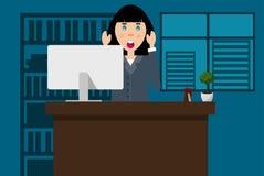 Mulher amedrontada no escritório ilustração stock