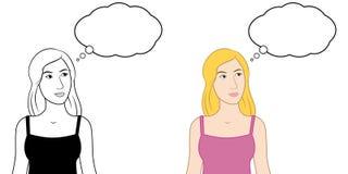 Mulher & bolha de pensamento pensativas ilustração royalty free