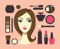 Mulher & cosméticos Fotografia de Stock Royalty Free