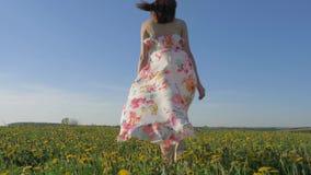 A mulher anda em um campo amarelo de florescência em um vestido que vibre no vento vídeos de arquivo