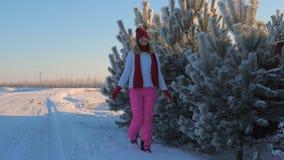 A mulher anda em uma estrada nevado no inverno, tocado pela mão das árvores com Frost video estoque