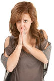 Mulher ansiosa com alms junto imagem de stock