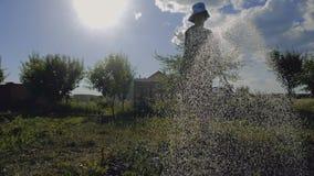 Mulher ansiosa em Panamá que molha sua área do jardim de um bocal de chuveiro no slo-mo video estoque